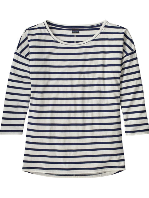 Patagonia W's Shallow Seas 3/4 Sleeved Top Midnight Stripe: Classic Navy